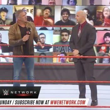Shane McMahon appears on WWE Raw alongside Adam Pearce. Shane, unfortunately, has amnesia.