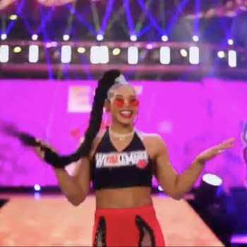 Bianca Belair makes her way to the ring on WWE Smackdown before choosing Sasha Banks as her opponent at WrestleMania.