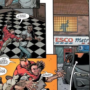 Marvel Superhero Lives Above A Tesco Metro And Reads the i Newspaper
