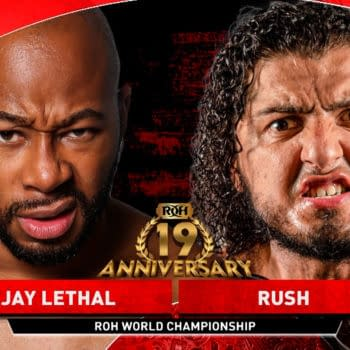 Match graphic for Jay Lethal vs. Rush at ROH 19th Anniversary