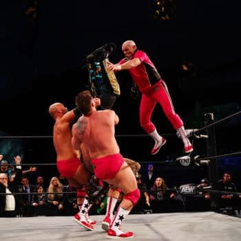 Tully Blanchard joins FTR in a trios match against Jurassic Express on AEW Dynamite - Credit: All Elite Wrestling