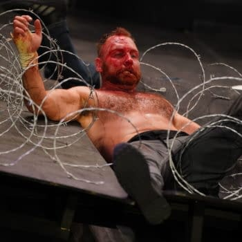 Jon Moxley in happier times, before AEW ruined the entire PPV with a botched explosion. Credit: AEW