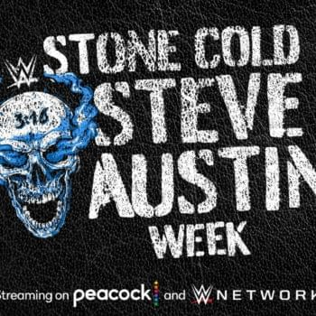 Graphic promoting Stone Cold Steve Auston week on the WWE Network and Peacock.