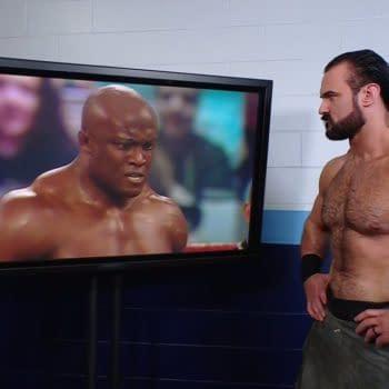 Drew McIntyre watches Bobby Lashley kick The Miz's ass on WWE Raw