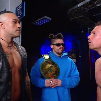 Bad Bunny appears on WWE Raw with Damian Priest and The Miz.