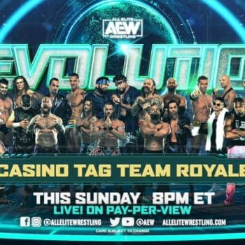 Match graphic for the tag team Casino Battle Royale at AEW Revolution.