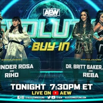 Match Graphic for Thunder Rosa and Riho vs. Dr. Britt Baker and Rebel at the Buy-In pre-show for AEW Revolution.