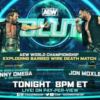 Match graphic for Kenny Omega vs. Jon Moxley at AEW Revolution