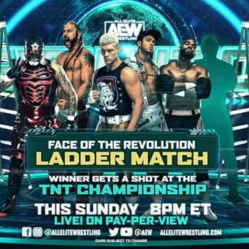 Match graphic for the Face of the Revolution ladder match at AEW Revolution.
