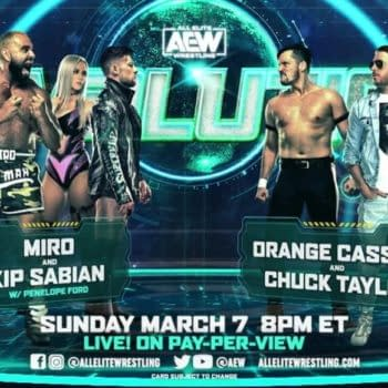 Match graphic for Miro and Kip Sabian vs. Orange Cassidy and Chuck Taylor at AEW Revolution