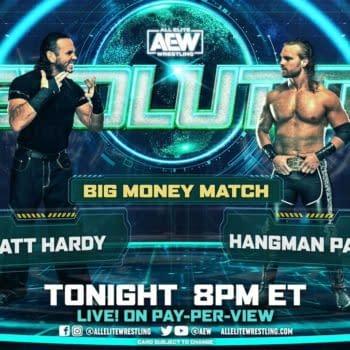 Match graphic for Hangman Page vs. Matt Hardy at AEW Revolution