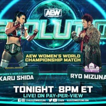 Match graphic for Hikaru Shida vs. Ryo Mizunami at AEW Revolution for the AEW Women's Championship