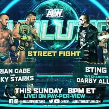 Match graphic for Sting and Darby Allin vs. Brian Cage and Ricky Starks in a Street Fight at AEW Revolution