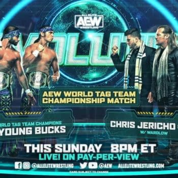 Match graphic for Chris Jericho and MJF vs. The Young Bucks for the AEW Tag Team Championship at AEW Revolution