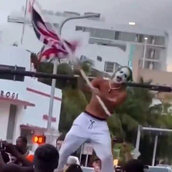 The Joker Throws Money, Protests Lockdown In Miami, Florida