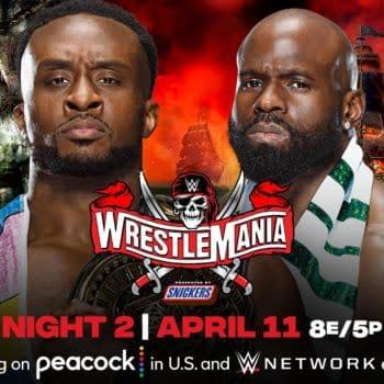 Match graphic for Big E vs. Apollo Crews for the Intercontinental Championship at WWE WrestleMania.