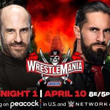 Match graphic for Cesaro vs. Seth Rollins at WWE WrestleMania.