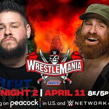 Match graphic for Kevin Owens vs. Sami Zayn at WWE WrestleMania.