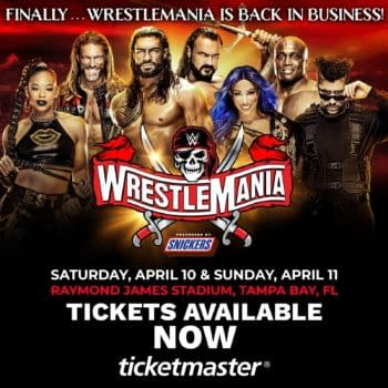 A WrestleMania graphic conspicuous for the absence of Charlotte Flair.