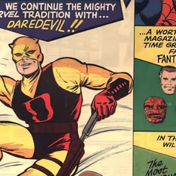 Daredevil #1 cover art by Jack Kirby, inked by Bill Everett, Marvel 1964.