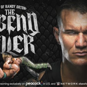 WWE graphic promoting the debut of The Best of Randy Orton: The Legend Killer this week on Peacock and the WWE Network.