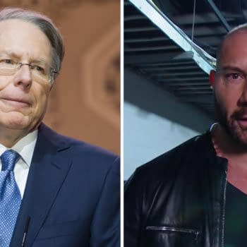 Dave Bautista has no love for NRA head Wayne LaPierre. Photo of the lizard person on the left: Christopher Halloran / Shutterstock.com