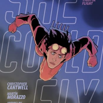 The cover to She Could Fly: Fight or Flight, the third and final graphic novel in the She Could Fly trilogy, by by Christopher Cantwell, Martín Morazzo, and Miroslav Mrva, coming to stores in October from Berger Books