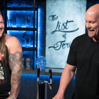 Chris Jericho smiles while screwing over The Chadster's beloved WWE.