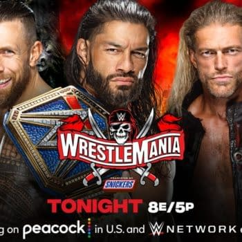 Match Graphic for Roman Reigns vs. Daniel Bryan vs. Edge for the Universal Championship at WrestleMania 37 Night 2
