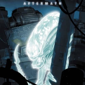 The cover to Alien: Aftermath #1, by Phil Noto and not, to our knowledge, traced from a photo of an action figure.