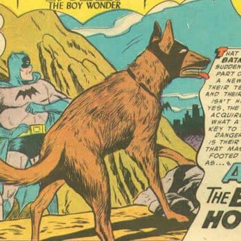 Ace the Bathound in Batman #92, title splash artwork by Sheldon Moldoff, DC Comics 1955.