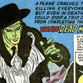 """Phantom Stranger #1 title splash for """"When Dead Men Walk"""", art by Carmine Infantino, DC Comics 1952."""