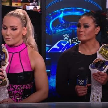 Natalya and Tamina celebrate their WWE Smackdown title win on Talking Smack