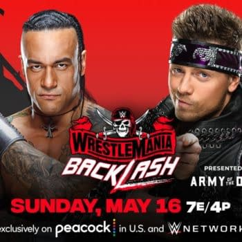 WWE WrestleMania Backlash match graphic: Damian Priest vs. The Miz in a lumberjack match