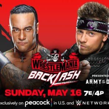 WWE WrestleMania Backlash match graphic: Damian Priest vs. The Miz in a lumberjack match