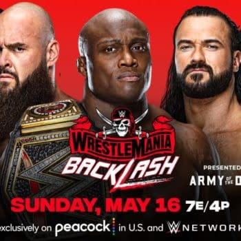 WWE WrestleMania Backlash match graphic: Bobby Lashley vs. Drew McIntyre vs. Braun Strowman for the WWE Championship