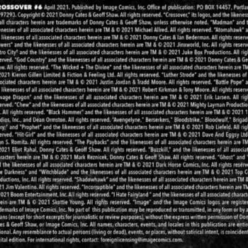 The Legal Credits For Crossover #6 by Geoff Shaw and Donny Cates
