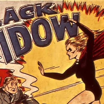 Black Widow title splash by Harry Sahle, Marvel Comics 1941.