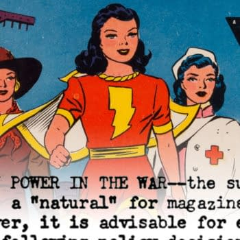 Wow Comics #11 (Fawcett Publications, 1943) featuring Mary Marvel, drawn by Marc Swayze, written by Bill Finger.