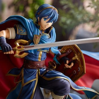 Fire Emblem Marth Raises His Sword With Intelligent Systems Statue