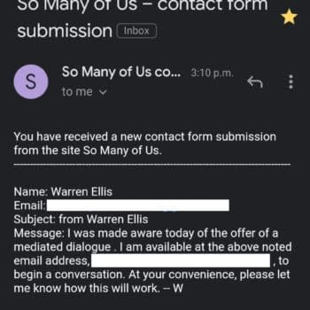 Warren Ellis Issues Statement Accepting So Many Of Us Website's Offer