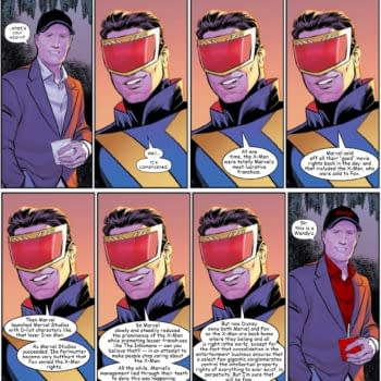 Kevin Feige and Cyclops discuss the history of the X-Men at Marvel in an EX-X-XCLUSIVE EX-X-XTENDED cut of a scene from X-Men #21