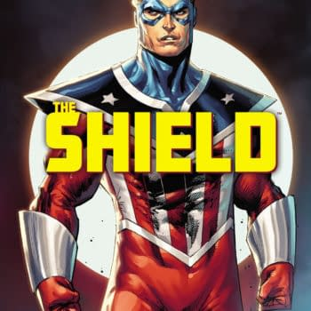 Rob Liefeld main cover to The Mighty Crusaders: The Shield #1, by Rob Liefeld and David Gallaher, in stores June 30th from Archive Comics