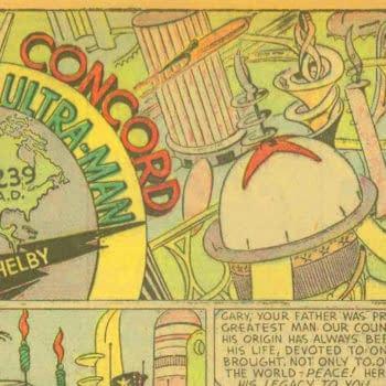All-American Comics #8 Ultra-Man title splash, DC Comics 1939.