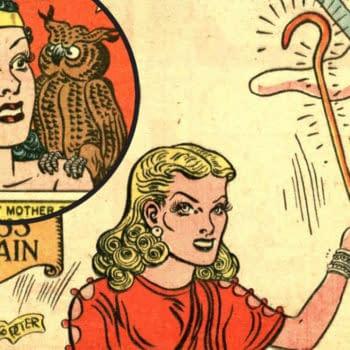 Wonder Woman #37 debut of Circe title splash drawn by H.G. Peter, DC Comics 1949.