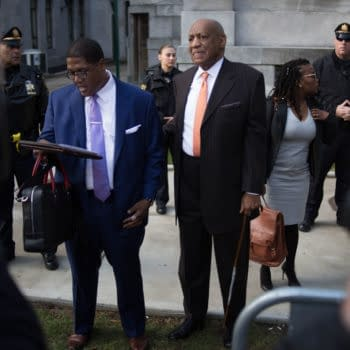 Actor Bill Cosby and spokesman Andrew Wyatt arrive for day 2 of Cosby's sexual assault re-trial at the Montgomery County Courthouse in Norristown, PA, April 10, 2018. (Michael Candelori / Shutterstock.com)