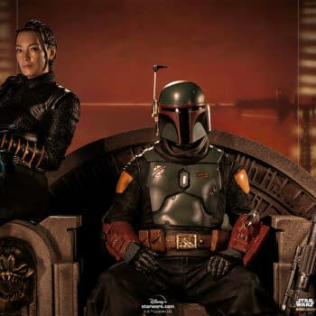 Boba Fett and Fennec Shand on Throne Statue Hits Iron Studios