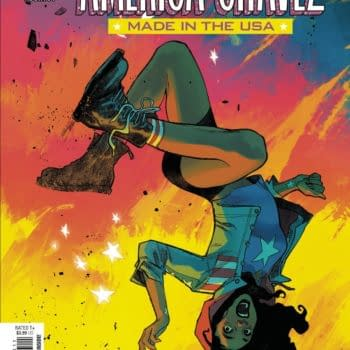 Cover image for MAY210650 AMERICA CHAVEZ MADE IN THE USA #4 (OF 5), by (W) Kalinda Vazquez (A) Carlos E. Gomez (CA) Sara Pichelli, in stores Wednesday, July 7, 2021 from MARVEL COMICS