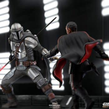 The Mandalorian Wields His Beskar Spear In His New Iron Studios Statue