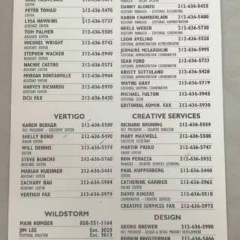 The DC Comics Editorial Phone List Of 2002